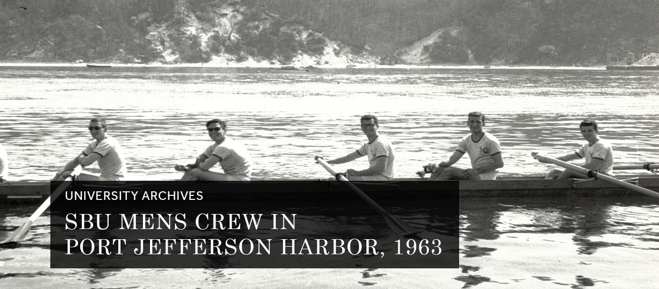 SBU Mens Crew in Port Jefferson Harbor, 1963 (University Archives)
