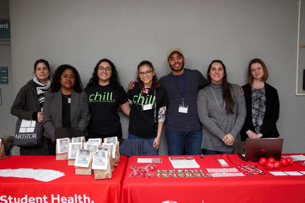 Students and library staff at the CHILL table.